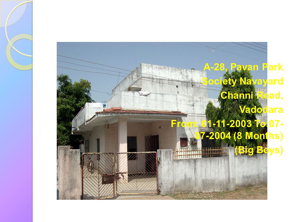 A-28, Pavan Park Society Navayard. Channi Road, Vadodara. From: 01-11-2003 To:07-07-2004 (8 Months)