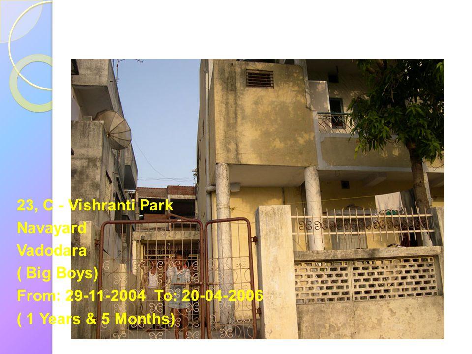 23, C - Vishranti Park Navayard. Vadodara. ( Big Boys) From: 29-11-2004 To: 20-04-2006.
