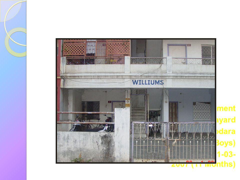 William Apartment Navayard Vadodara ( Big Boys) From: 20-04-2006 To: 01-03-2007 (11 Months)