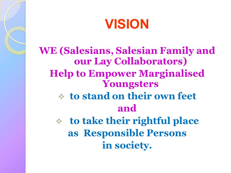 VISION WE (Salesians, Salesian Family and our Lay Collaborators)