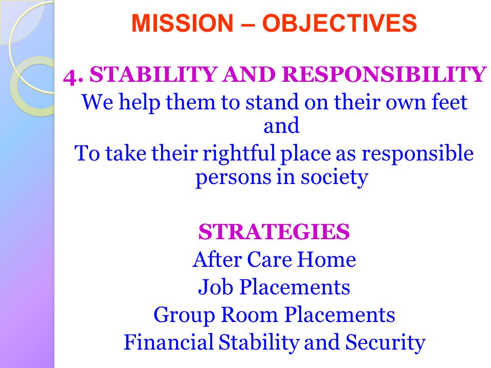4. STABILITY AND RESPONSIBILITY