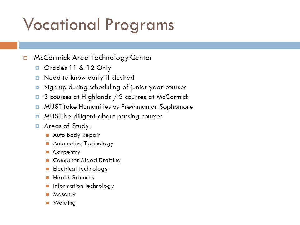 Vocational Programs McCormick Area Technology Center