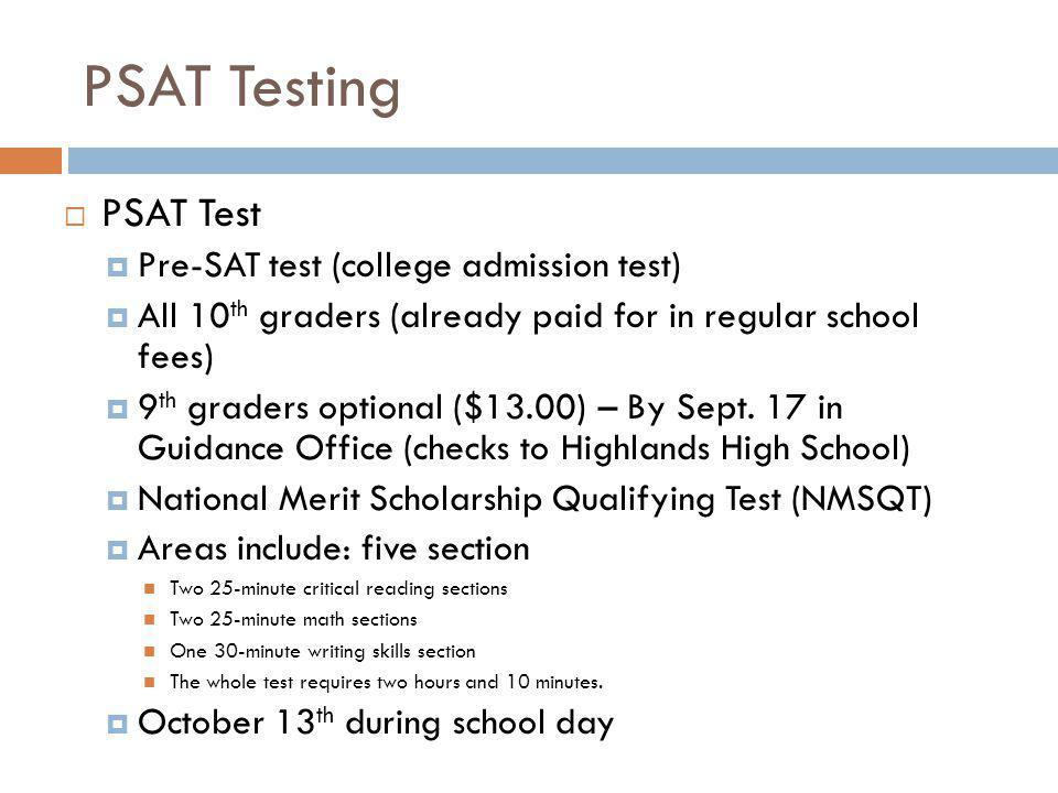 PSAT Testing PSAT Test Pre-SAT test (college admission test)