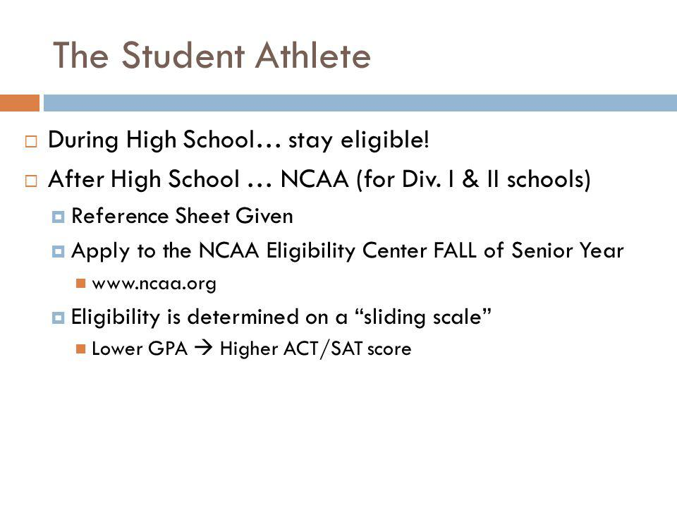 The Student Athlete During High School… stay eligible!