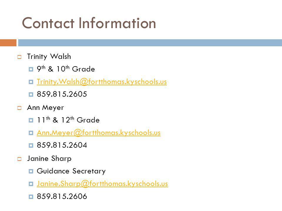 Contact Information Trinity Walsh. 9th & 10th Grade. Trinity.Walsh@fortthomas.kyschools.us. 859.815.2605.