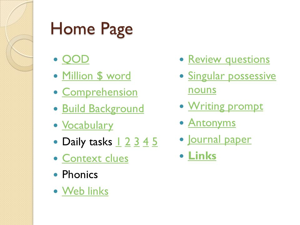 Home Page QOD Million $ word Comprehension Build Background Vocabulary