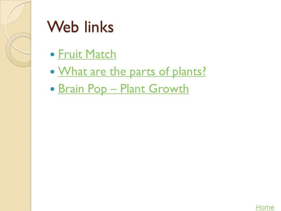 Web links Fruit Match What are the parts of plants