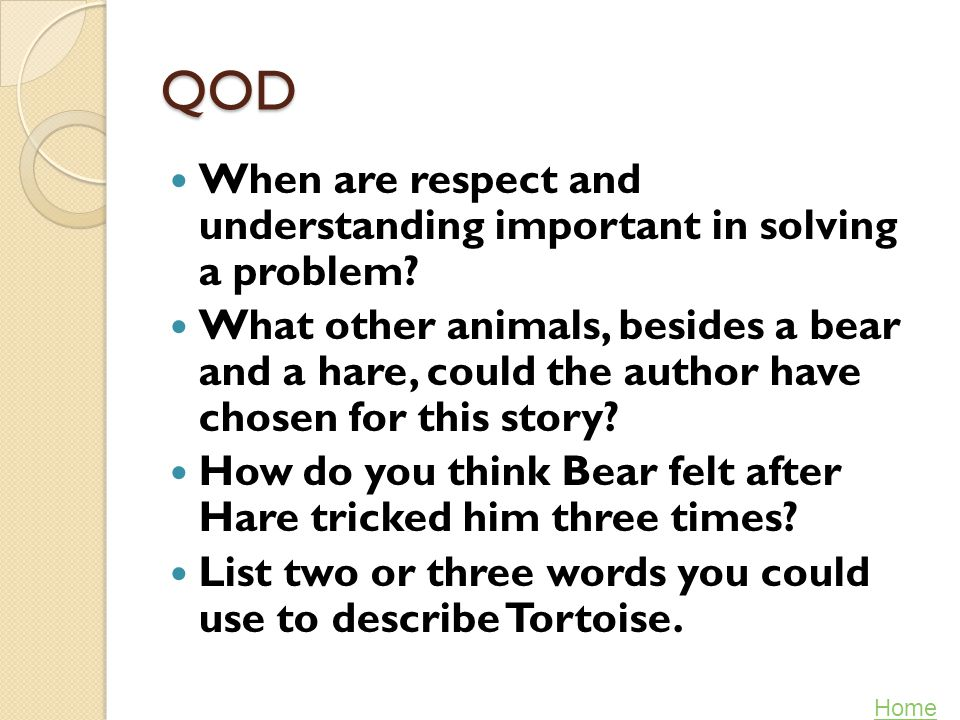 QOD When are respect and understanding important in solving a problem