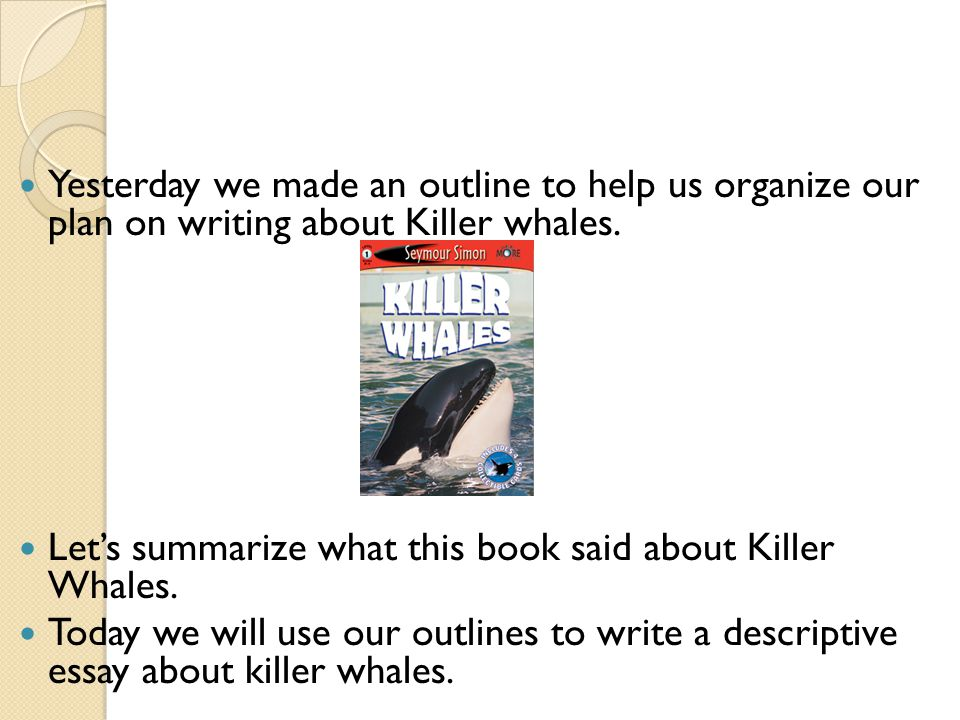 Yesterday we made an outline to help us organize our plan on writing about Killer whales.