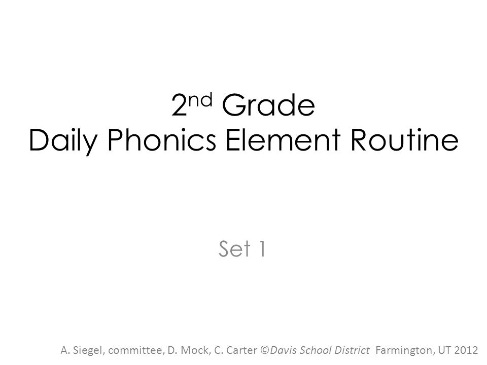 2nd Grade Daily Phonics Element Routine