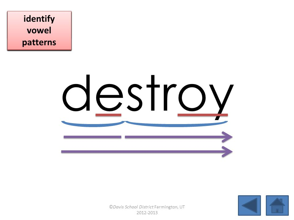 destroy click per vowel identify vowel patterns