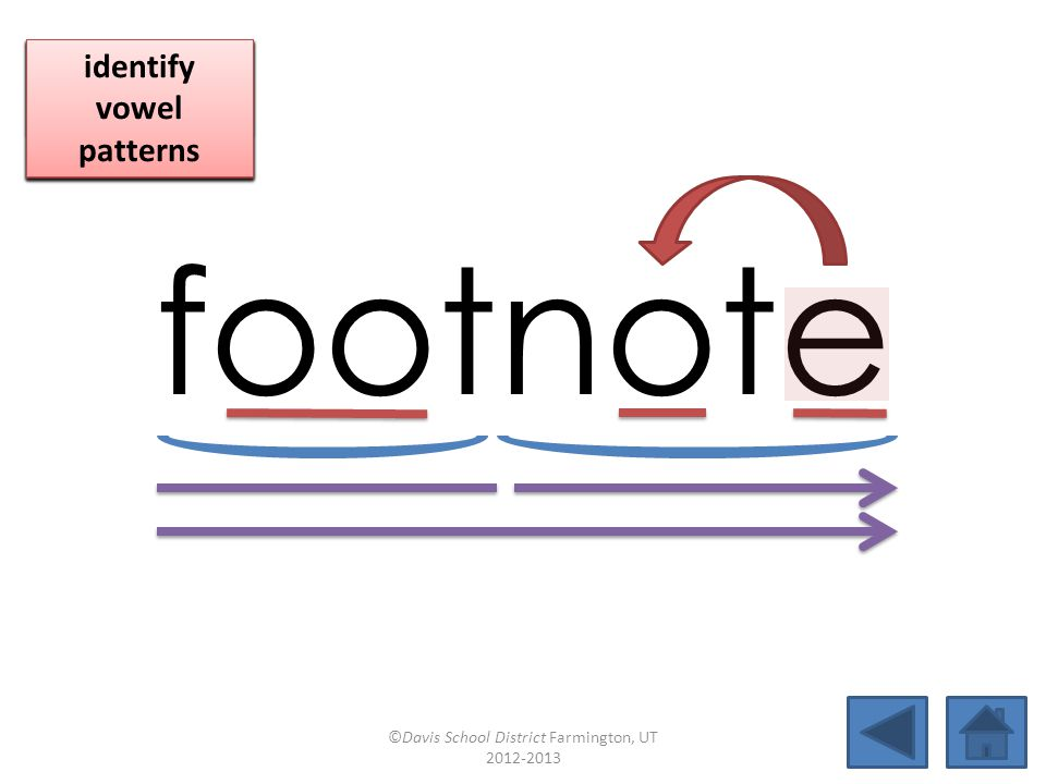 footnote click per vowel identify vowel patterns