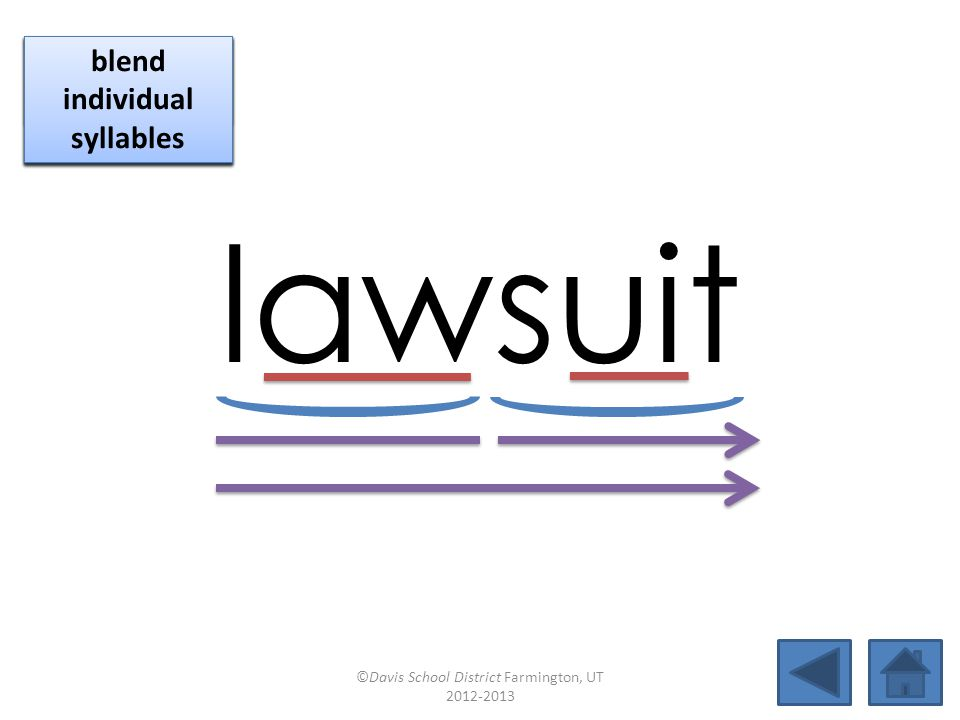 lawsuit click per vowel blend individual syllables
