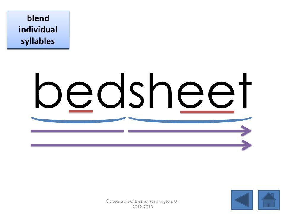 bedsheet click per vowel blend individual syllables