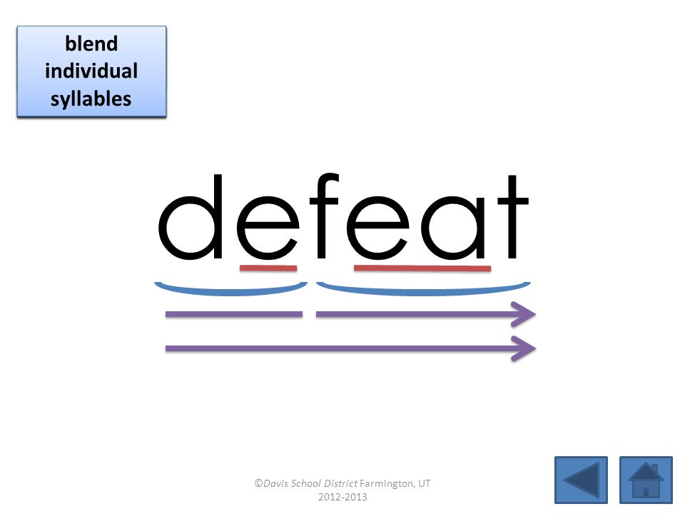 defeat click per vowel blend individual syllables