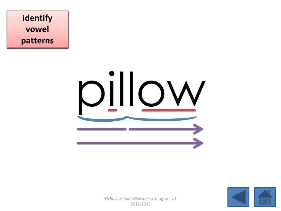 pillow click per vowel identify vowel patterns identify vowel patterns