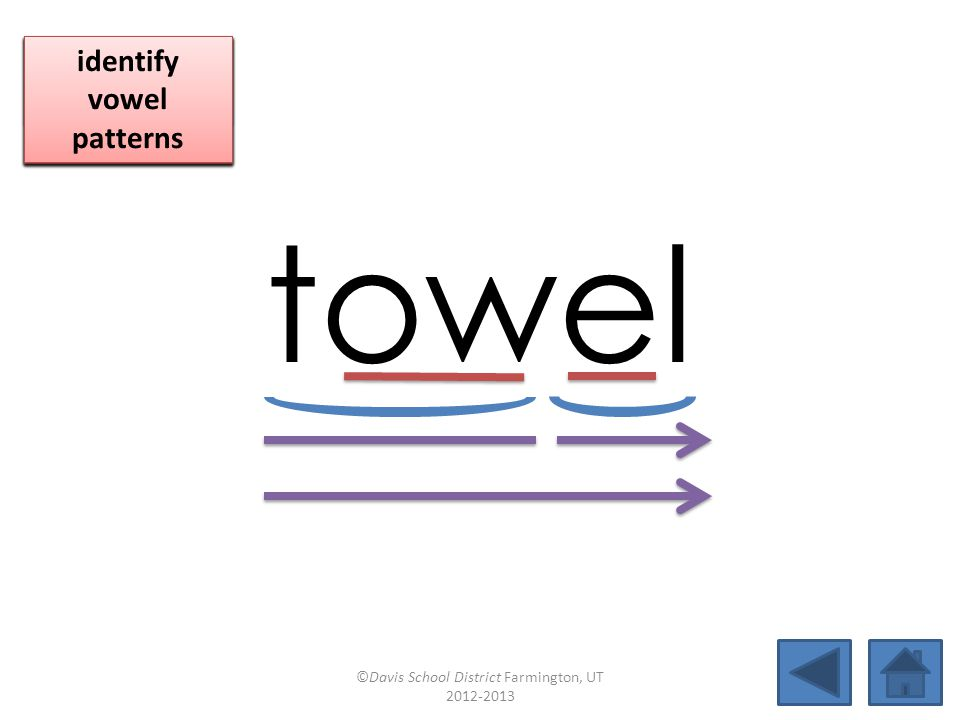 towel click per vowel identify vowel patterns identify vowel patterns