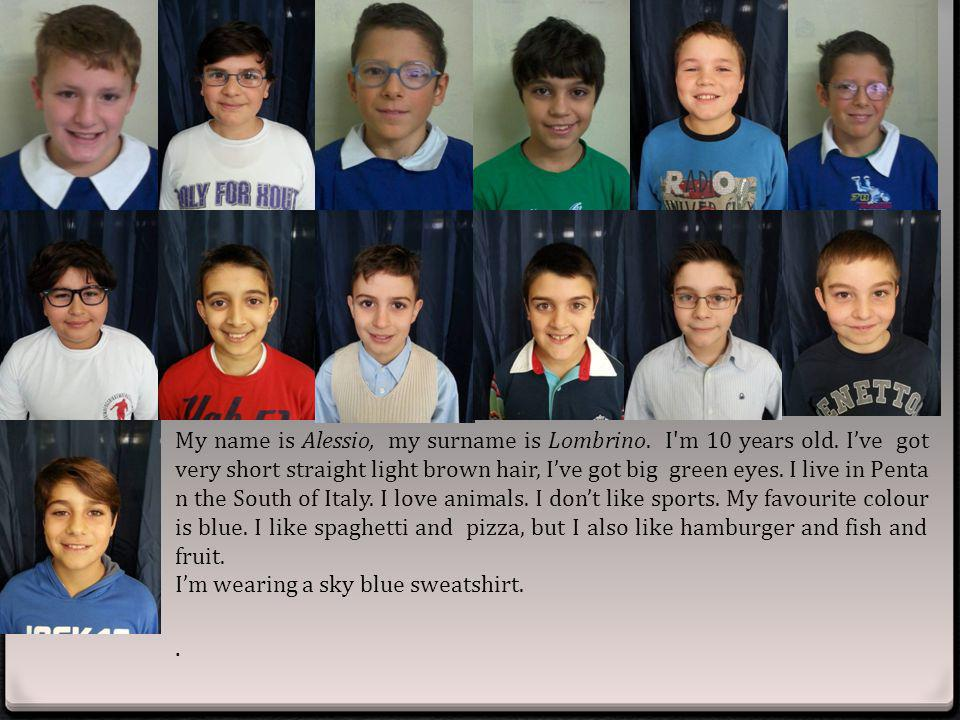My name is Alessio, my surname is Lombrino. I m 10 years old