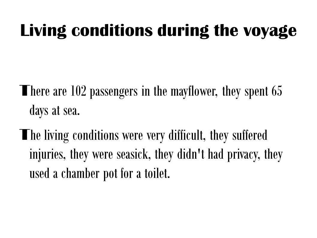 Living conditions during the voyage