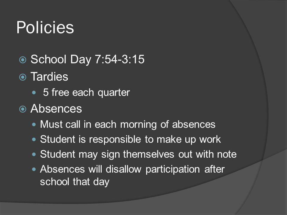 Policies School Day 7:54-3:15 Tardies Absences 5 free each quarter