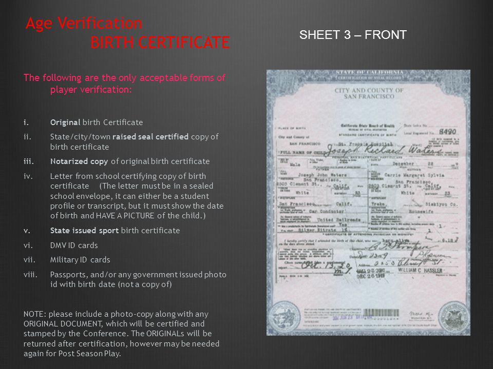 Age Verification BIRTH CERTIFICATE SHEET 3 – FRONT