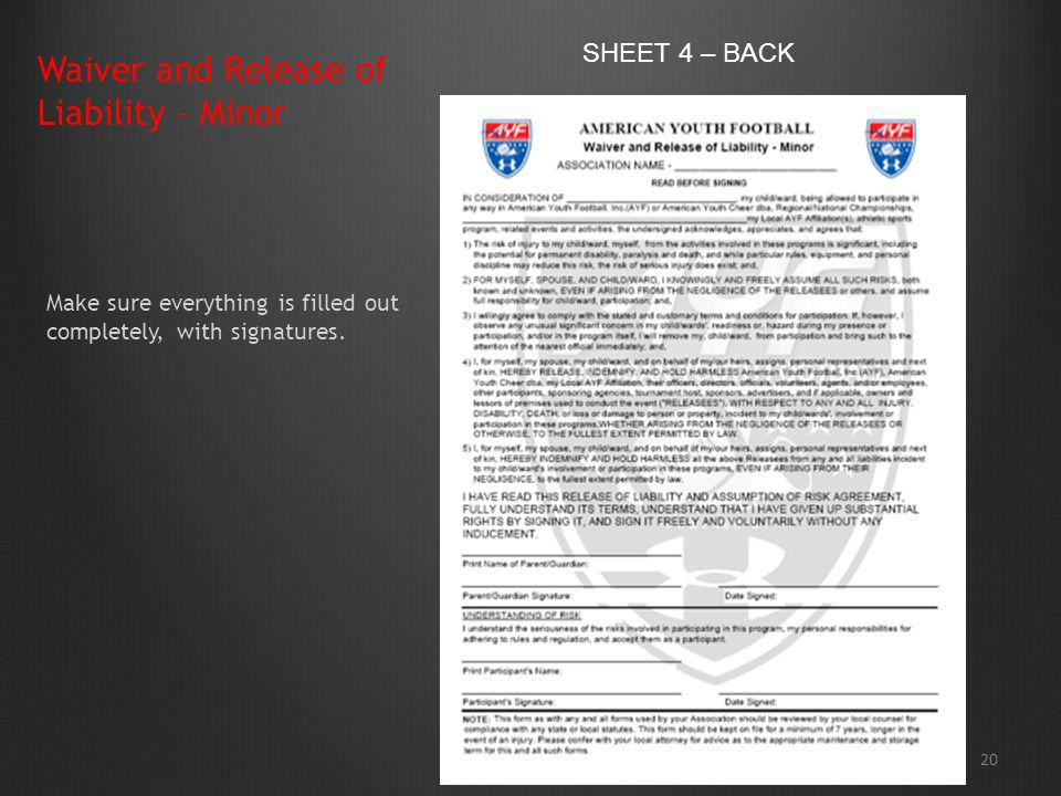 Waiver and Release of Liability – Minor