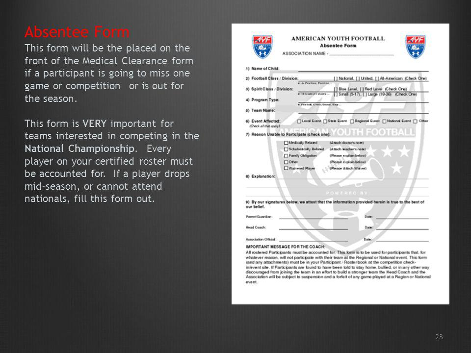 This form will be the placed on the front of the Medical Clearance form if a participant is going to miss one game or competition or is out for the season. This form is VERY important for teams interested in competing in the National Championship. Every player on your certified roster must be accounted for. If a player drops mid-season, or cannot attend nationals, fill this form out.