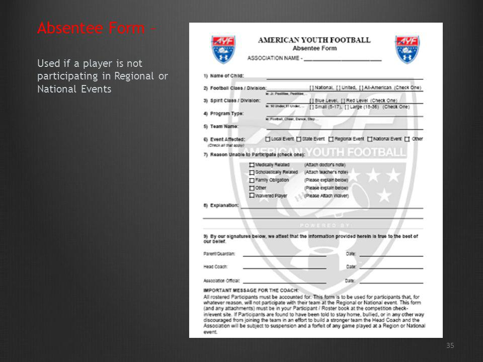 Absentee Form – Used if a player is not participating in Regional or National Events 35