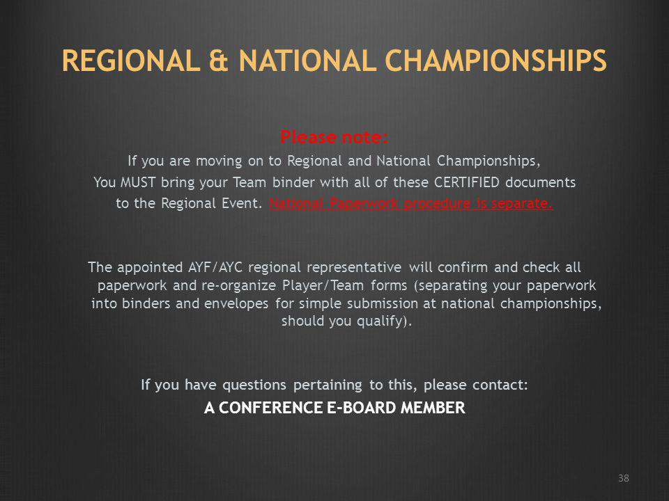 REGIONAL & NATIONAL CHAMPIONSHIPS