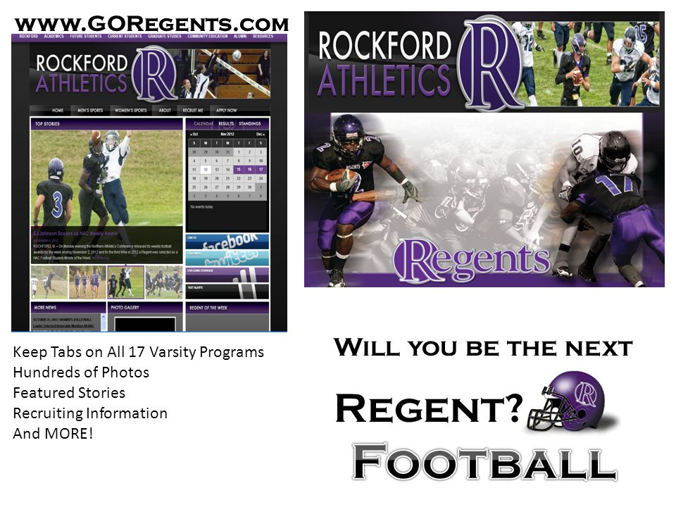 Football Regent Will you be the next www.GORegents.com