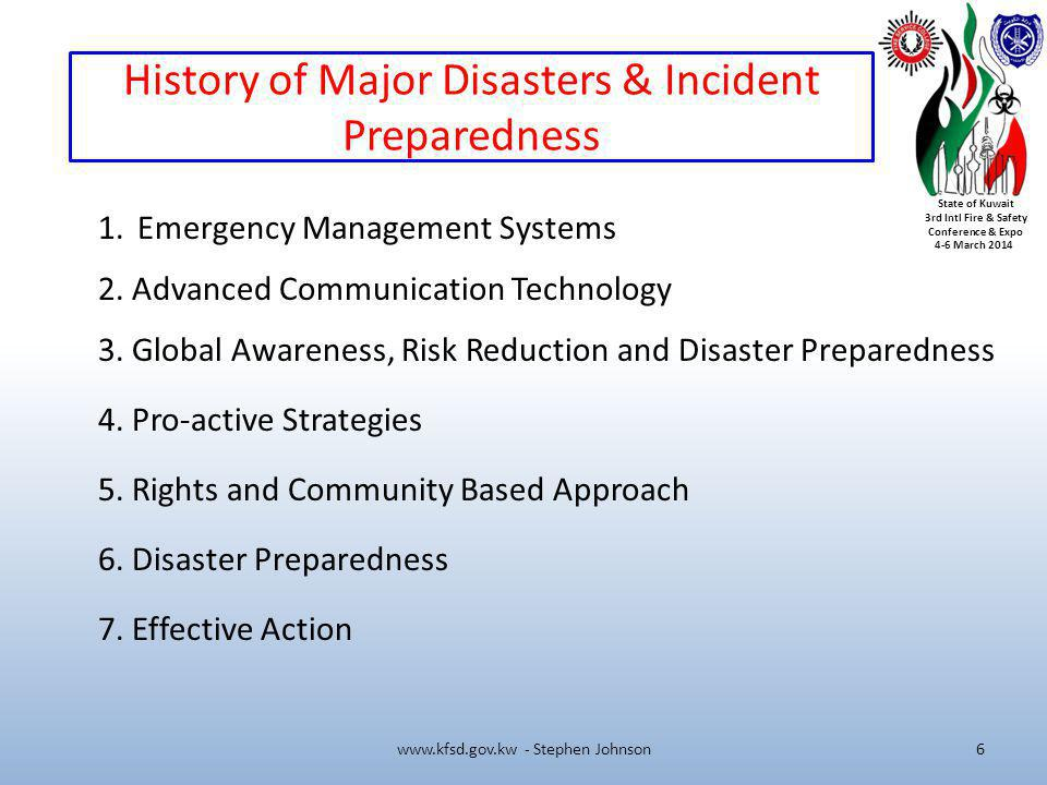 History of Major Disasters & Incident Preparedness