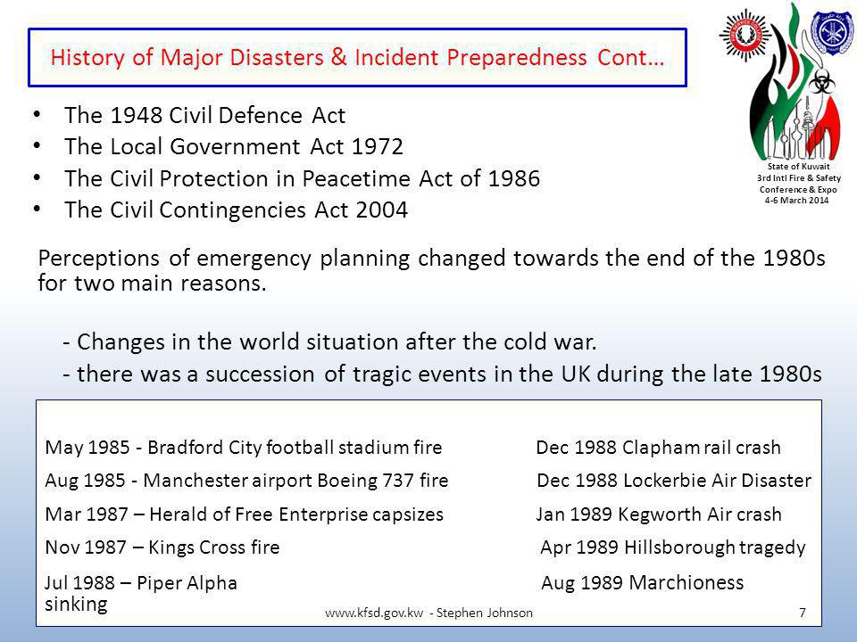 History of Major Disasters & Incident Preparedness Cont…