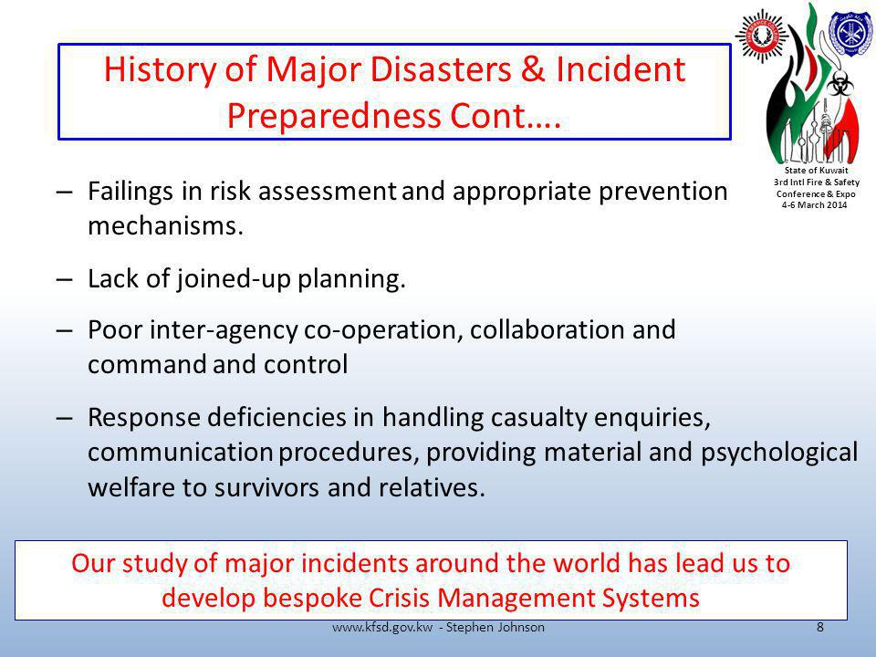 History of Major Disasters & Incident Preparedness Cont….