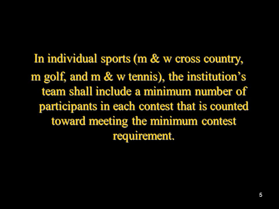 In individual sports (m & w cross country,