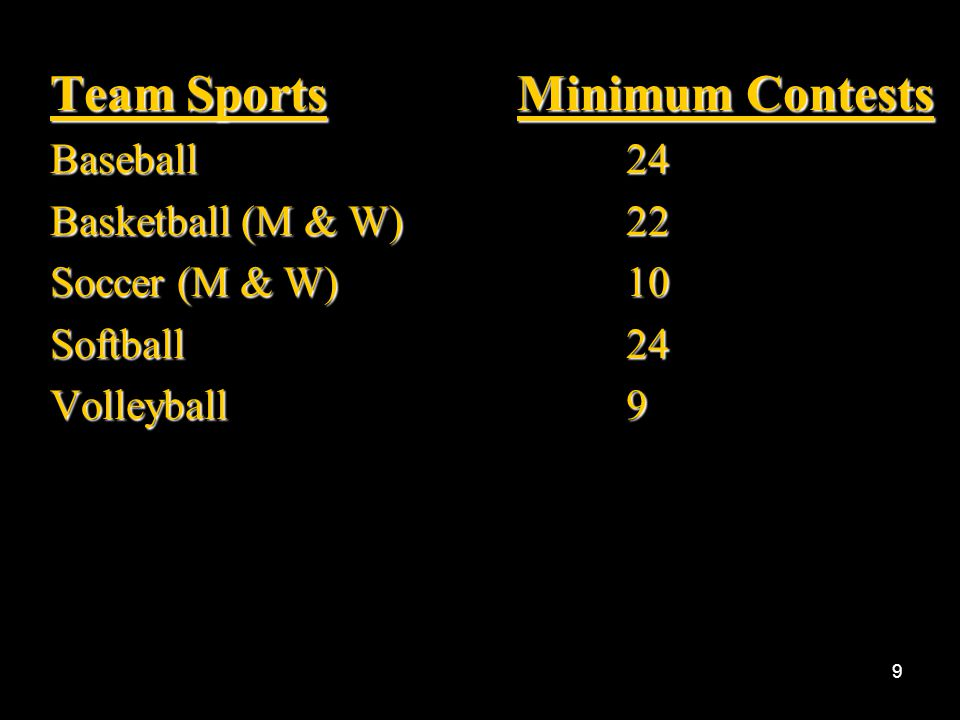Team Sports Minimum Contests