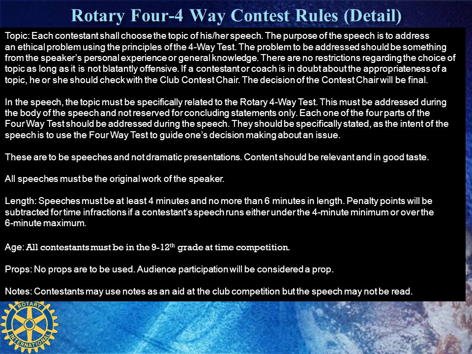 Rotary Four-4 Way Contest Rules (Detail)