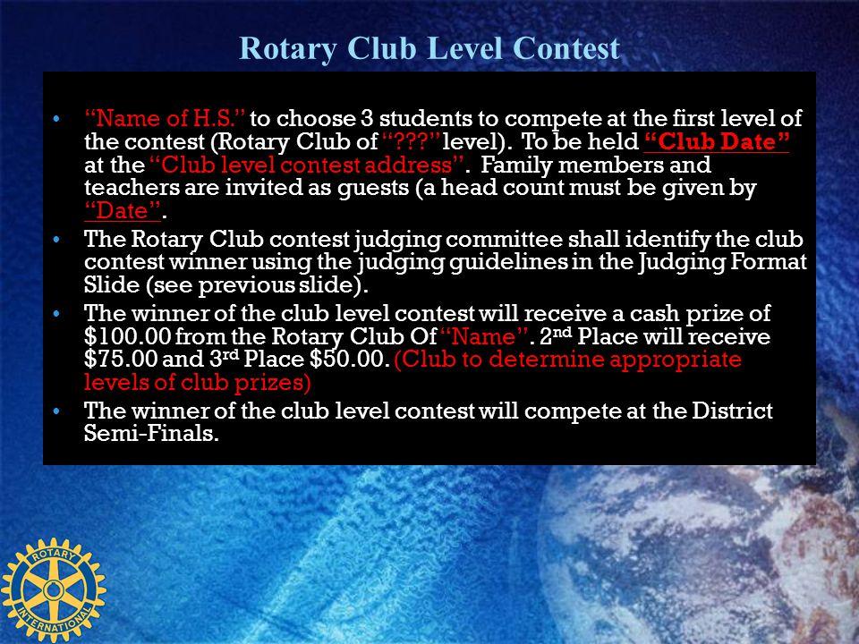 Rotary Club Level Contest