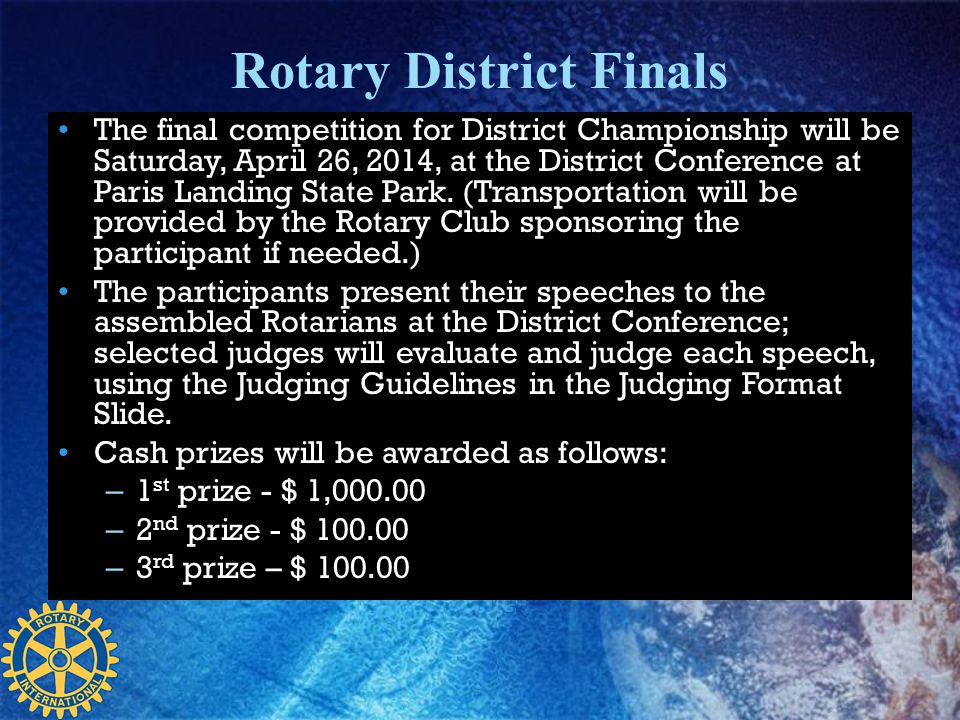 Rotary District Finals