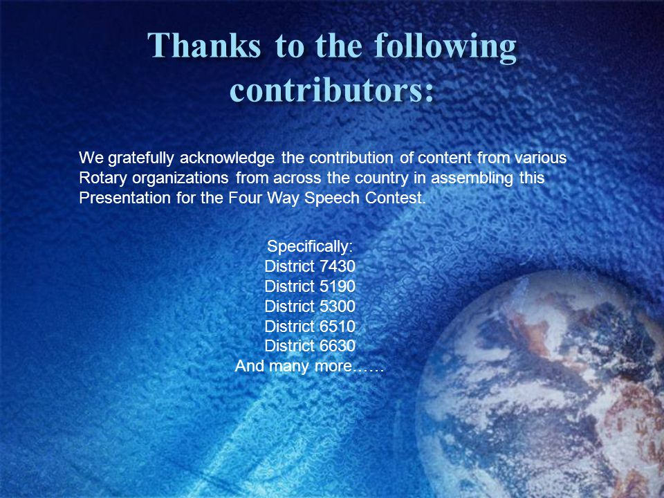 Thanks to the following contributors: