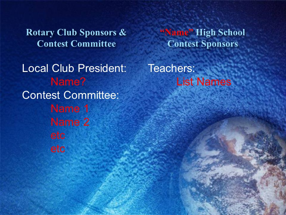 Rotary Club Sponsors & Contest Committee