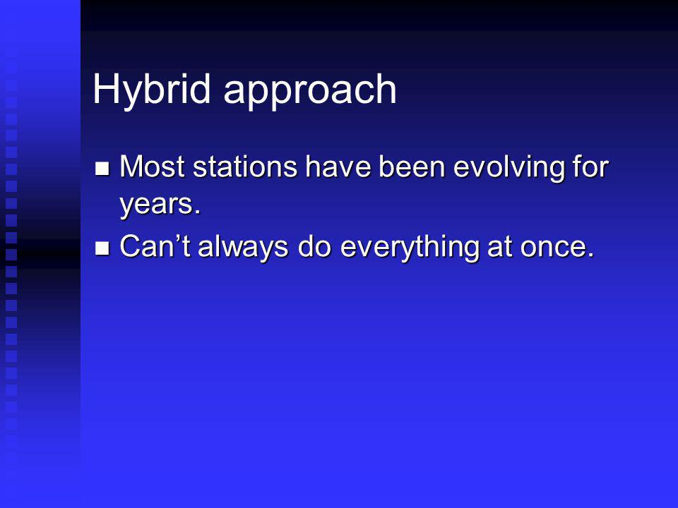 Hybrid approach Most stations have been evolving for years.