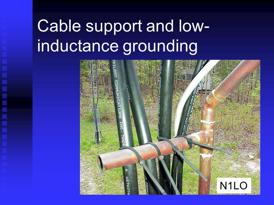 Cable support and low-inductance grounding