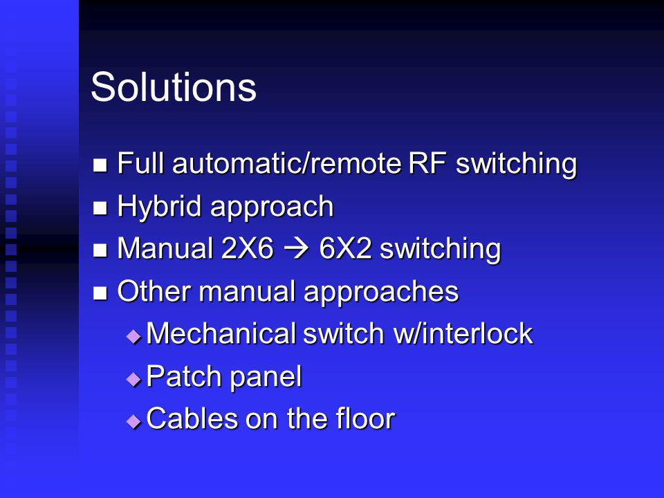 Solutions Full automatic/remote RF switching Hybrid approach