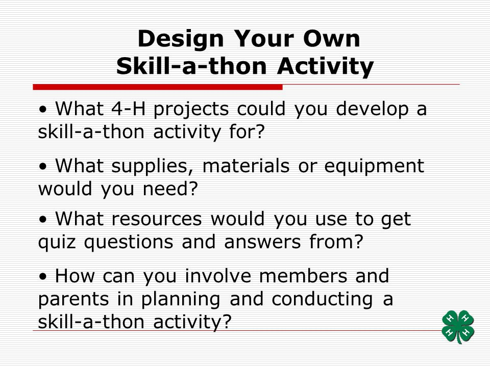 Design Your Own Skill-a-thon Activity