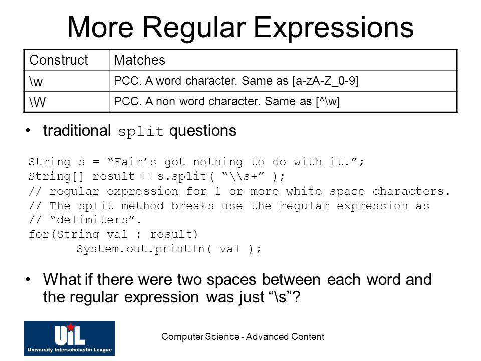 More Regular Expressions