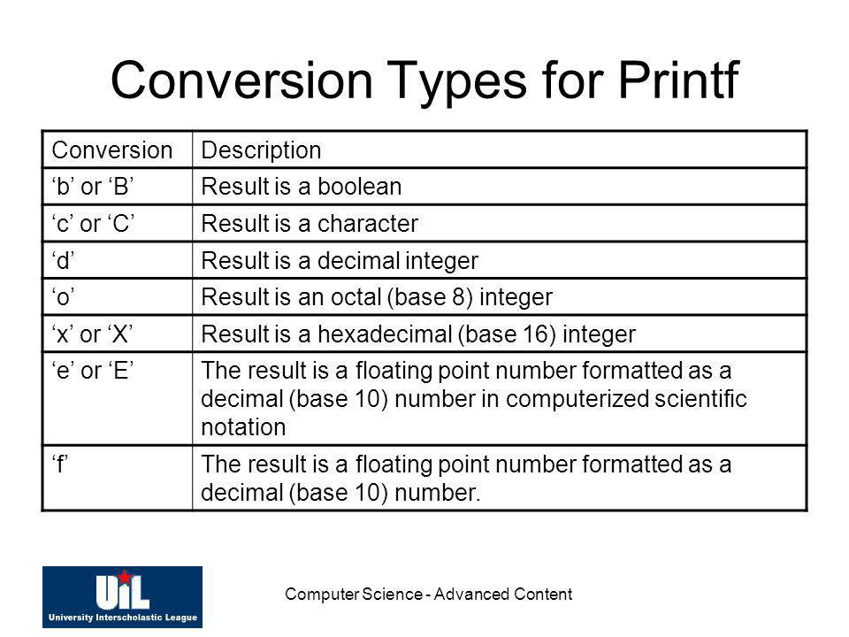 Conversion Types for Printf