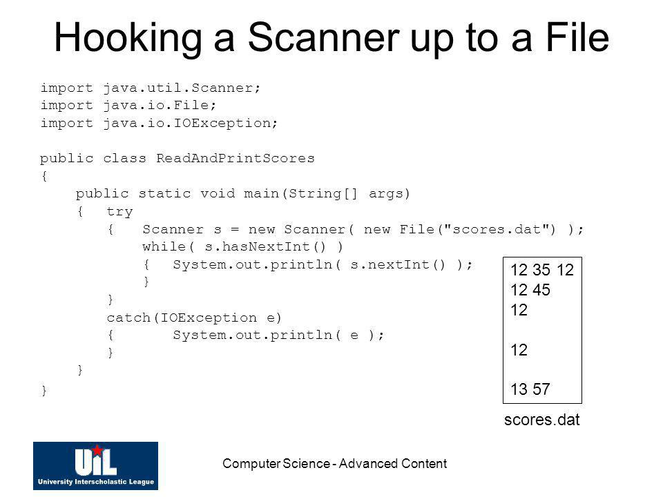 Hooking a Scanner up to a File