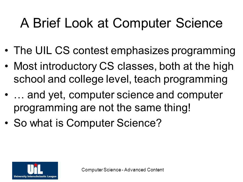 A Brief Look at Computer Science