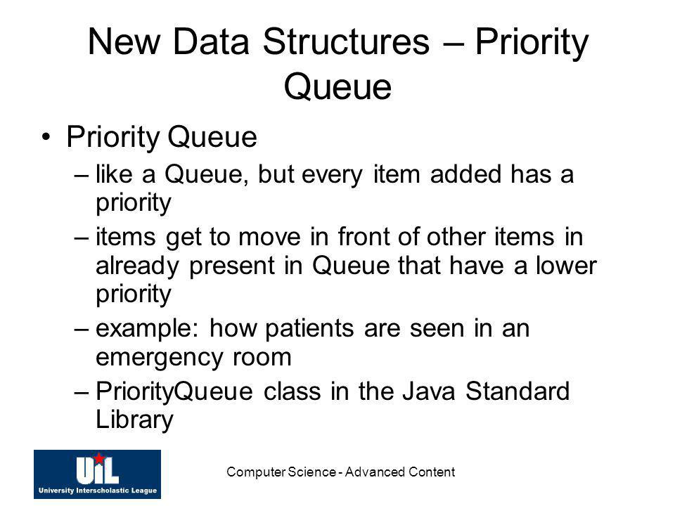 New Data Structures – Priority Queue