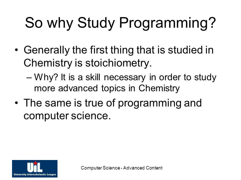So why Study Programming